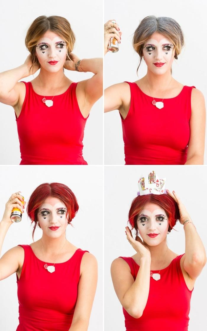 ideas sobre como hacerte un maquillaje bruja halloween, la Bruja roja de Alicia paso a paso