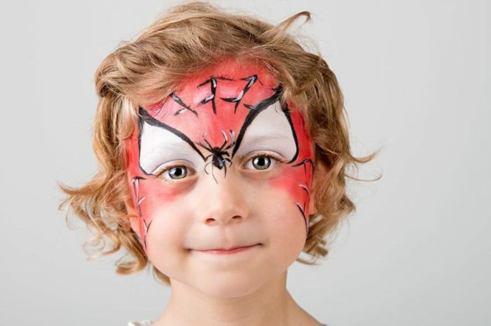 cara de Spidermen, ideas de maquillaje de Halloween infantil, maquillaje para halloween fácil