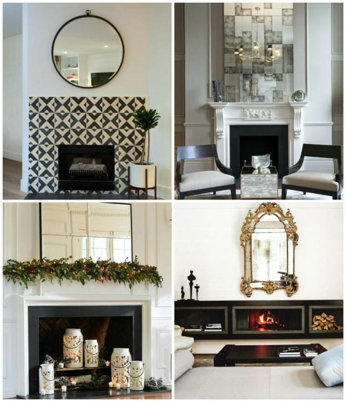 cuatro propuestas sobre cómo decorar una chimenea moderna, bonitos ejemplos de decoración con espejos