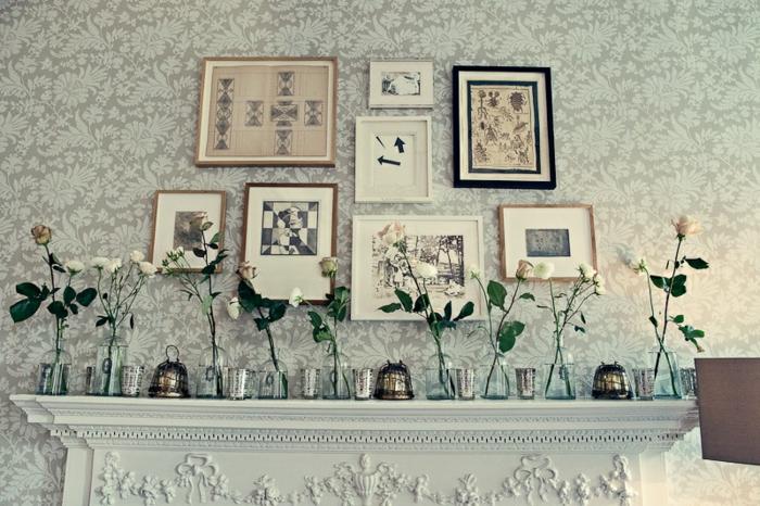 ideas sencillas y originales sobre cómo decorar una chimenea francesa, cuadros decorativos y frascos de vidrio, chimeneas decorativas ikea
