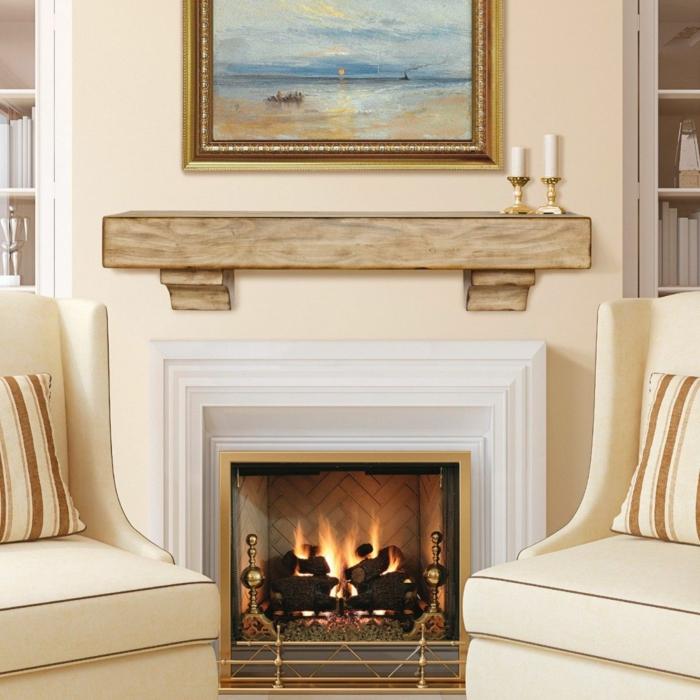 ideas sobre como decorar una chimenea francesa, precioso salón en beige con chimenea de leña y pintura en la pared