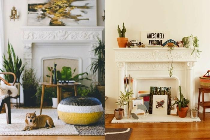 dos ejemplos de decoración de chimenea moderna, chimeneas falsas decoradas con encanto