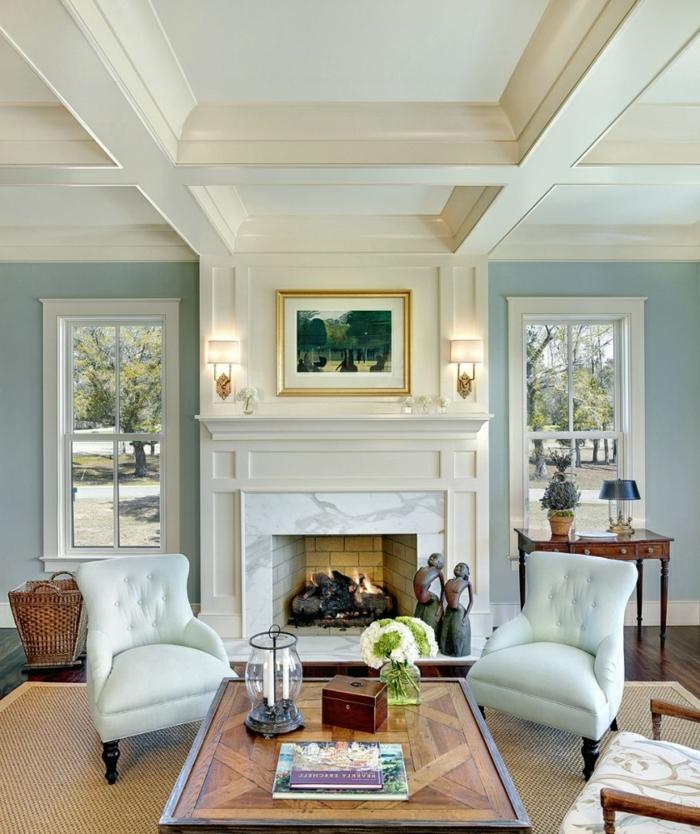ideas sobre como decorar chimenea moderna, precioso salón decorado en colores claros