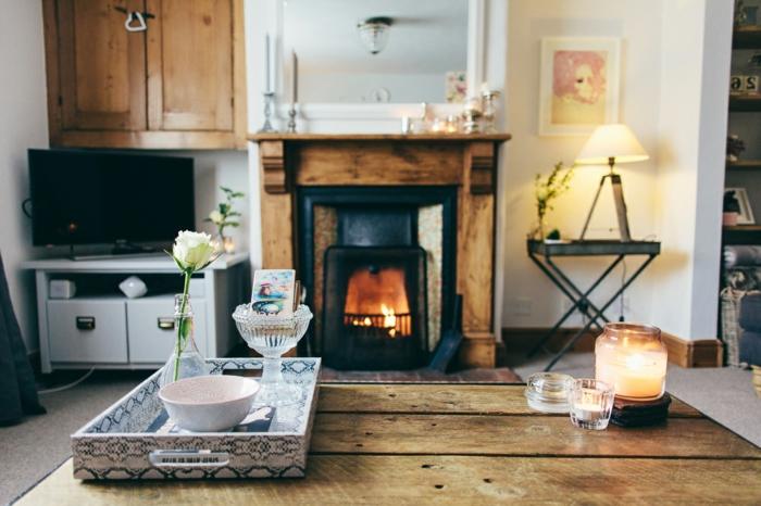 decoración de salones rusticos con chimenea, preciosas ideas de diseño de interiores en imágines