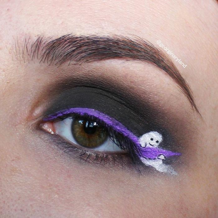 preciosas ideas de caras pintadas de halloween, pequeños detalles que enamoran, ojos ahumados con dibujos