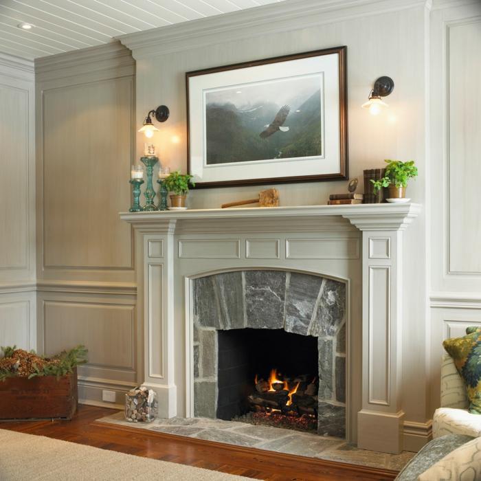 salones rusticos con chimenea, salón decorado en gris, preciosa decoración con plantas verdes
