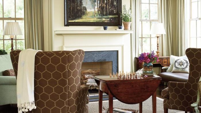 chimeneas rusticas de leña en imágines, preciosas ideas de decoración de interiores, salón moderno decorado en marrón y beige
