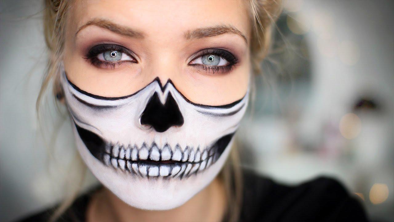 como pintar cara esqueleto, ideas de maquillaje para Halloween que enamoran, maquillaje mujer media cara