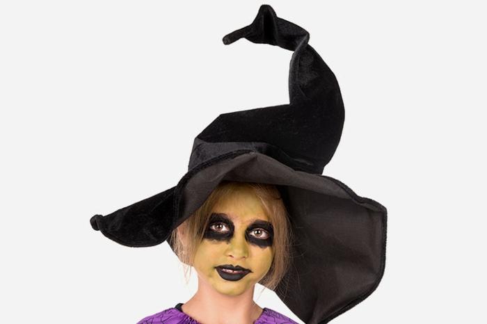 maquillaje bruja niña super fácil de hacer, ideas de maquillaje infantil Halloween, disfraces para niños