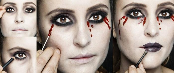 tutoriales de maquillaje halloween facil paso a paso, ojos ahumados, cara pálida y labios en color oscuro