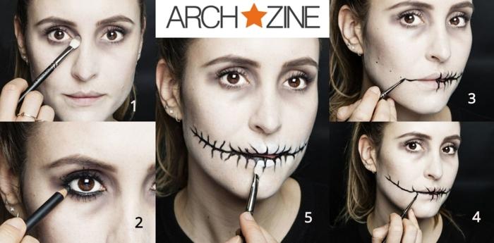 maquillaje halloween facil paso a paso, tutoriales de maquillaje en imágines, pintar la cara de zombie