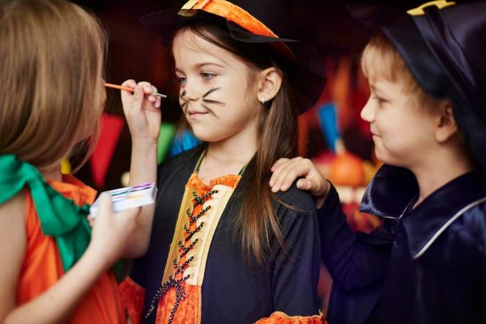 ideas de maquillaje para halloween fácil para los pequeños, cara de gato super fácil de hacer, disfraces y maquillajes de halloween