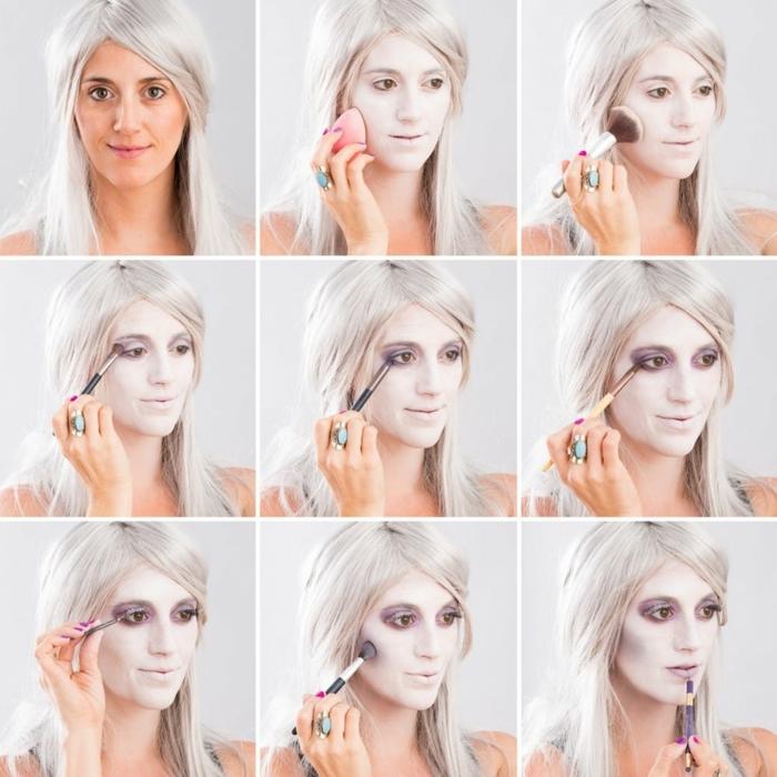 cómo hacer un maquillaje de Halloween en casa, maquillaje bruja niña paso a paso, ideas super originales