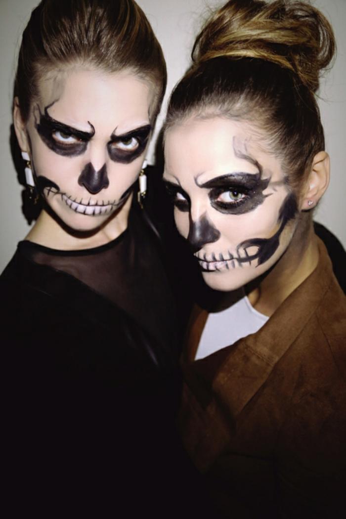 pintar cara esqueleto paso a paso, ideas de maquillaje para Halloween en imágines con tutoriales paso a paso