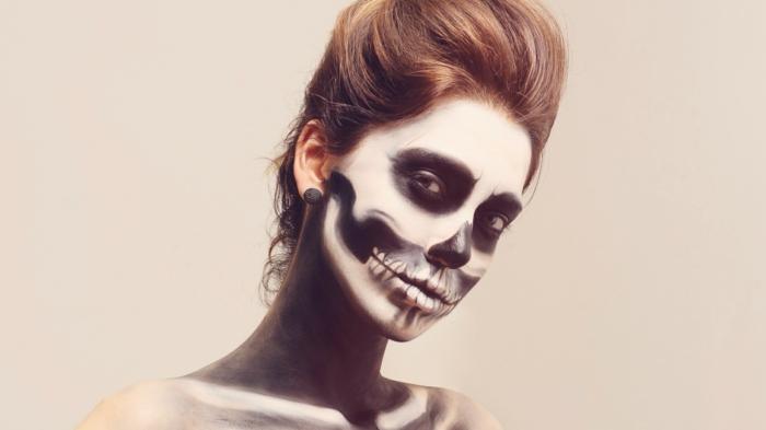 xomo pintar cara esqueleto paso a paso, ideas de maquillajes originales y sencillos en 80 fotos