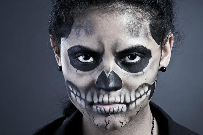 preciosas ideas para pintar cara esqueleto, ideas de disfraces caseros y maquillaje para la noche de todos los santos
