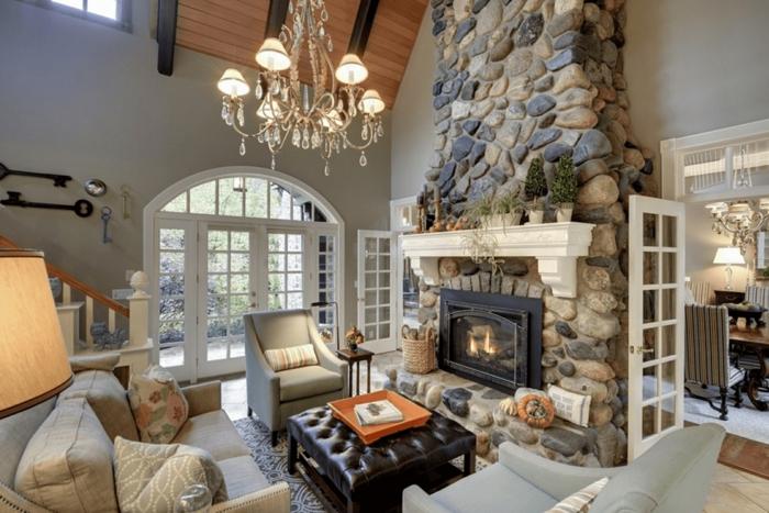 precioso salón decorado en estilo rústico moderno, chimeneas rusticas de leña, últimas tendencias en diseño de interiores