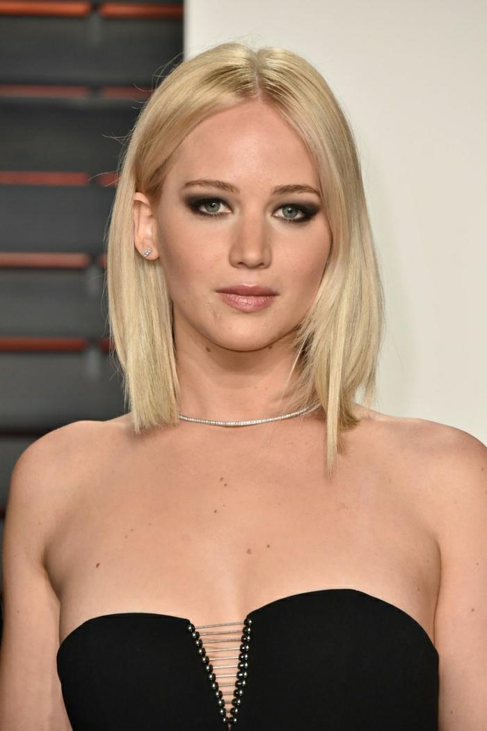 que cortes de pelo favorecen a las caras redondas, corte de pelo bob largo, cabello rubio liso