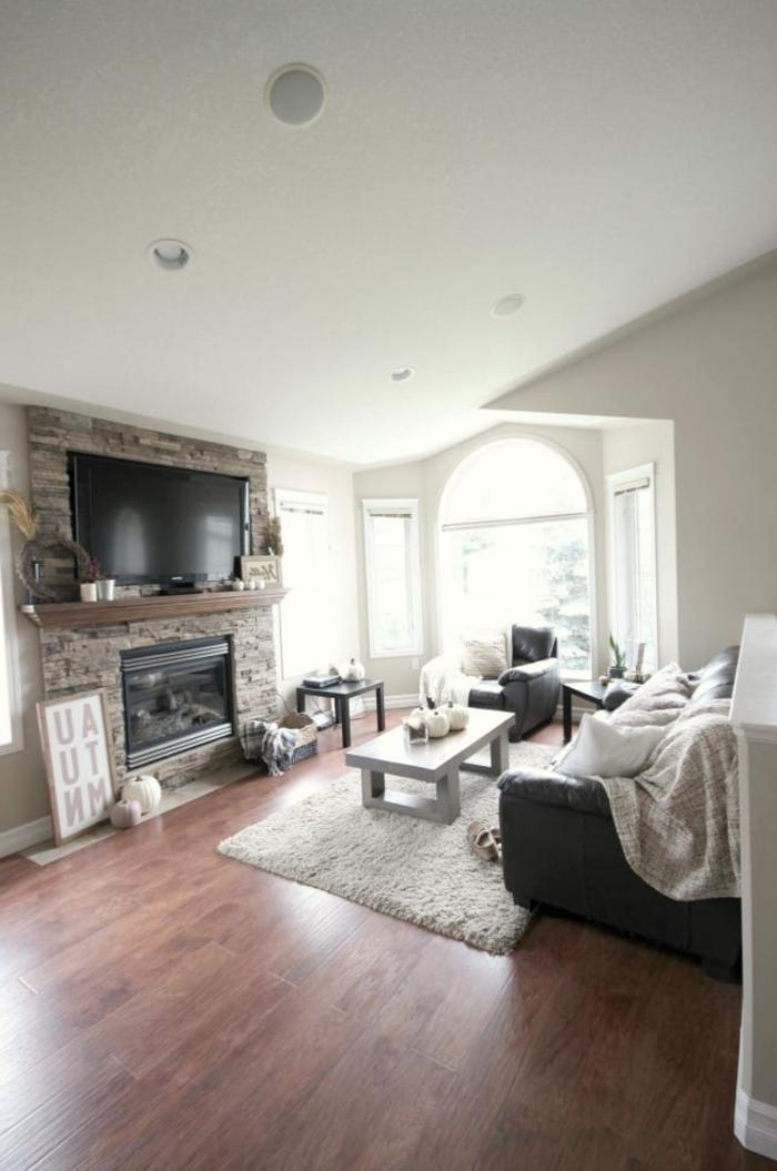 precioso salón decorado en estilo rústico moderno, chimeneas rusticas con mucho encanto, salón acogedor en blanco