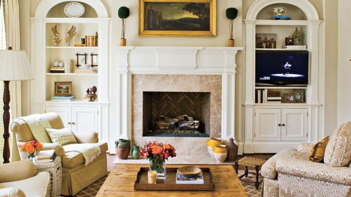 precioso salón decorado en beige con chimenea de leña, chimeneas rusticas en imágines
