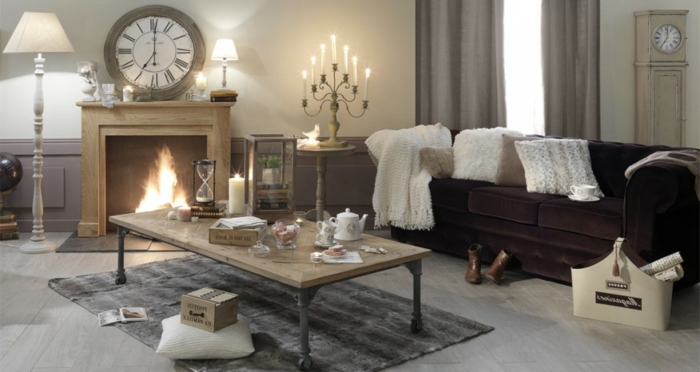 ideas de decoración de chimeneas rusticas, muebles y elementos decorativos en estilo vintage, grande reloj