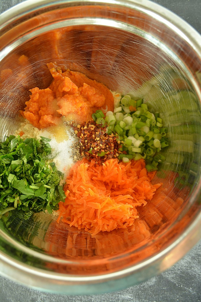 pasos para hacer crepes con calabaza, tortitas con calabaza paso a paso, pure de calabaza, verduras y zanahorias