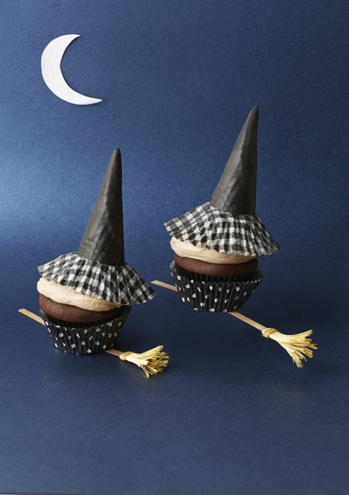 buñuelos de chocolate y calabaza decoradas, ideas de postres para hacer en casa para la noche de Halloween