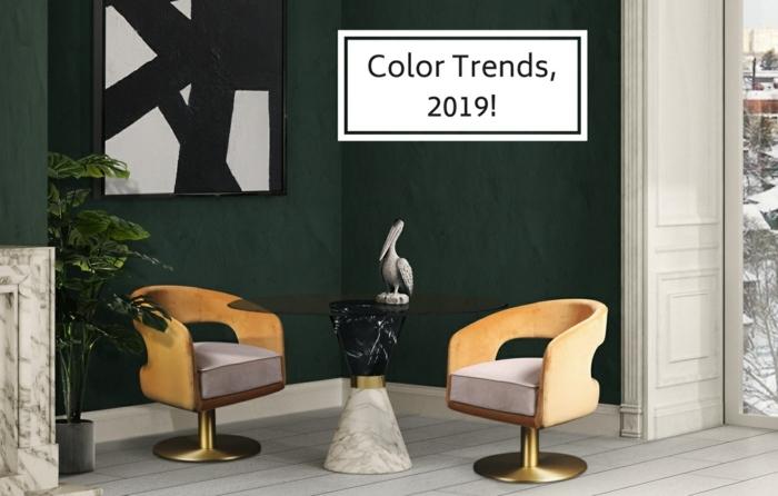 ideas sobre que colores se llevan para pintar un salon en 2019, salon moderno pintado en verde oscuro, sillas color mostaza