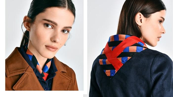 como ponerse un pañuelo cuadrado en el cuello, outfit modernos en colores oscuros, pañuelo en cuadros