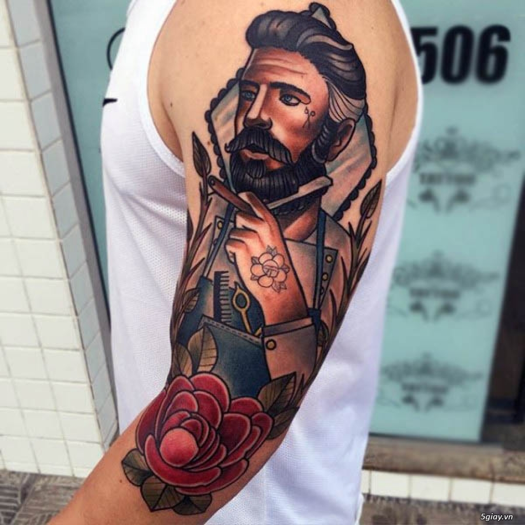 tatuajes para hombres en el brazo, brazo entero tatuado, diseños de tattoos de la vieja escuela