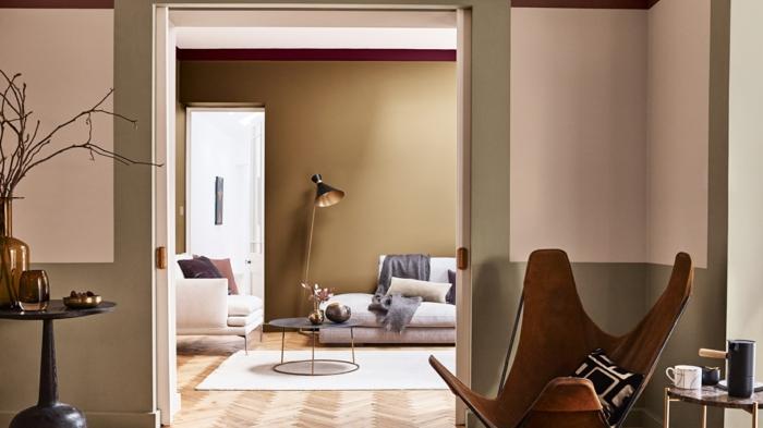 combinaciones de colores que inspiran, colores de pintura para salones, pared pintada en beige y rosado