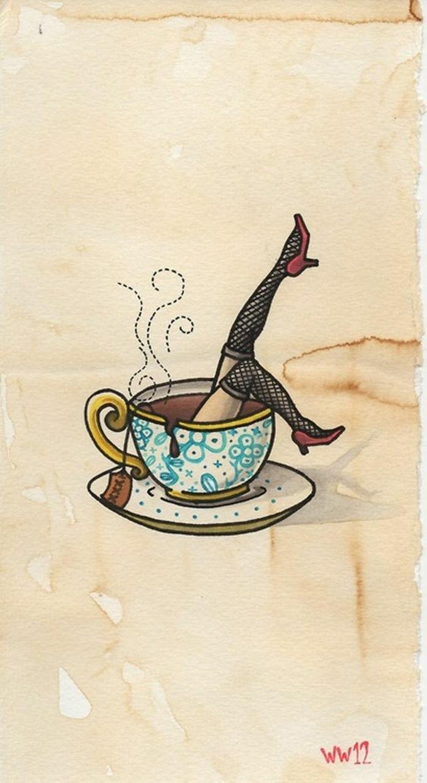 ideas de tatuajes old school femeninos, diseños clásicos con mucho encanto, taza de café ornamentada