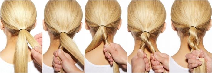 peinados fáciles y rápidos paso a paso, largas coletas con trenzas, tutoriales de peinados para hacer en 5 minutos