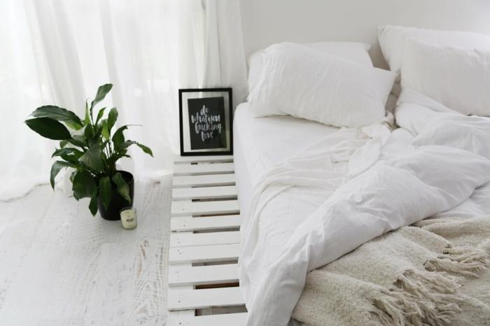 dormitorio decorado en estilo nórdico, muebles hechos de materiales reciclados, ideas de muebles con palets