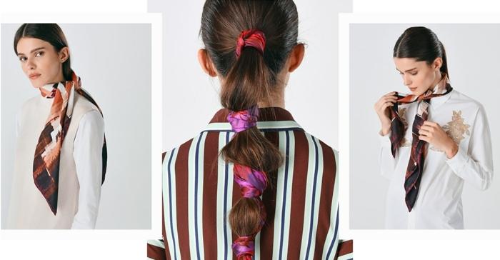 formas de ponerse un pañuelo en e cuello y el cabello, pañuelos de seda de diseño en colores cálidos