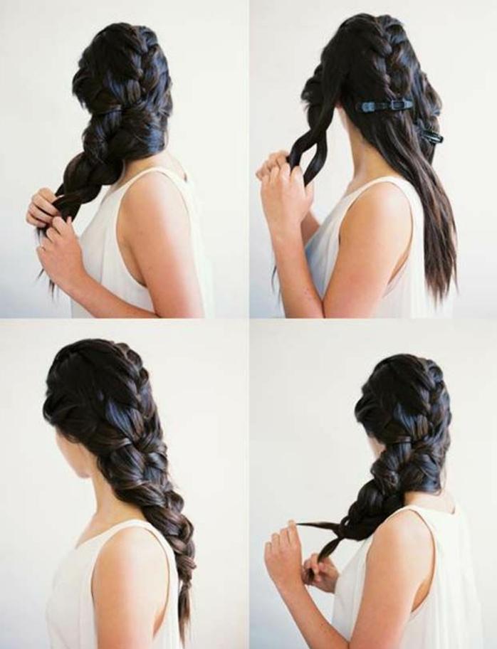 precioso recogido con trenza lateral, peinados con trenzas faciles ideas con tutoriales paso a paso