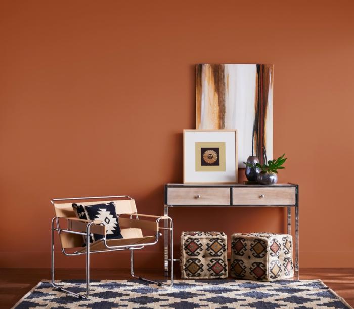 color del año 2019, tono cálido terracota, que colores se llevan para pintar un salon, decoración de encanto