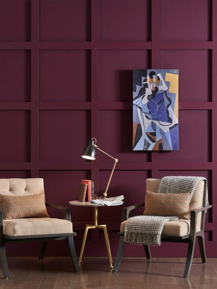 ingeniosas ideas de decoración de salones en estilo minimalista, paredes en rojo bordeos, qué colores se llevan para pintar un salón