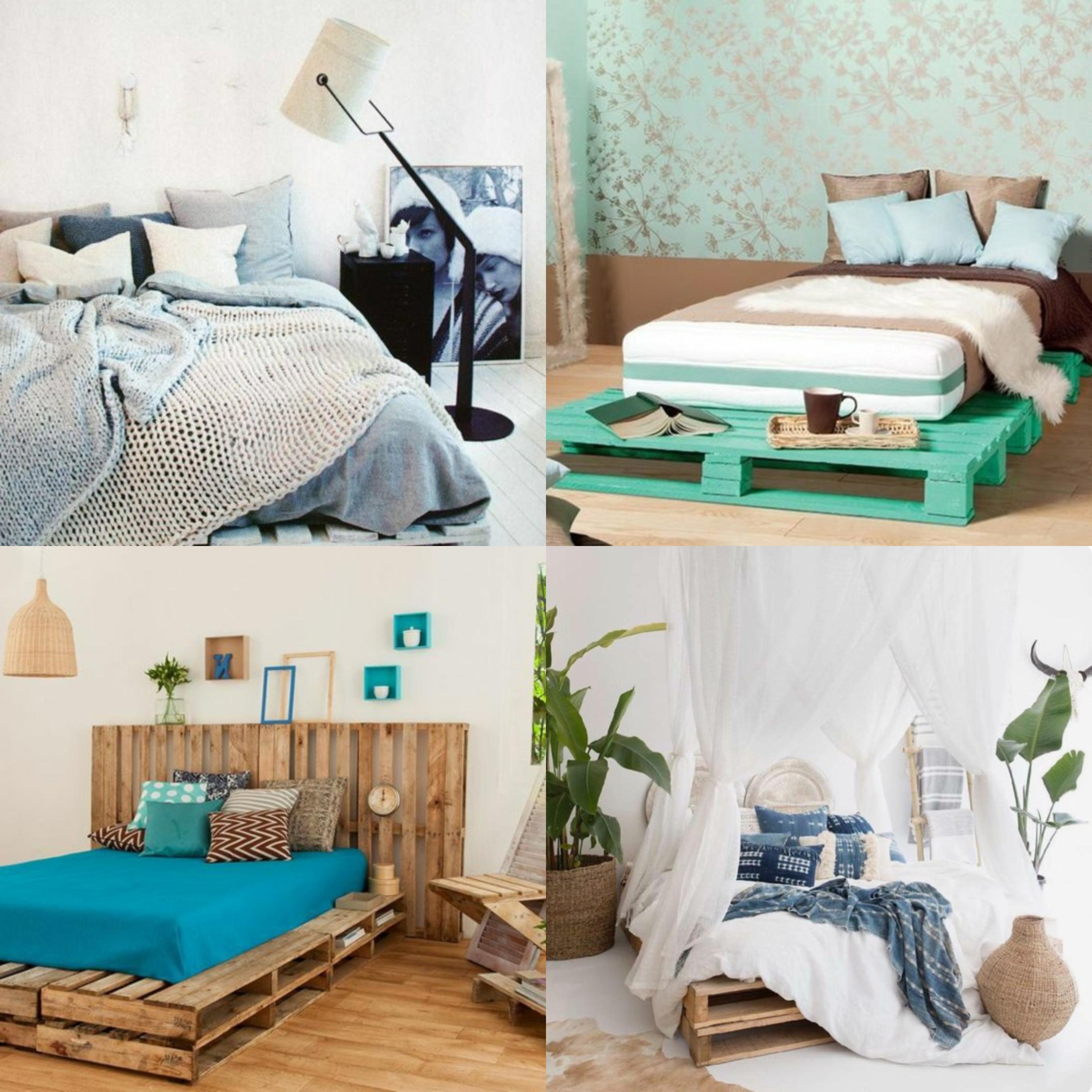 cuatro propuestas de camas con palets DIY, habitaciones decorados en colores modernos con camas DIY