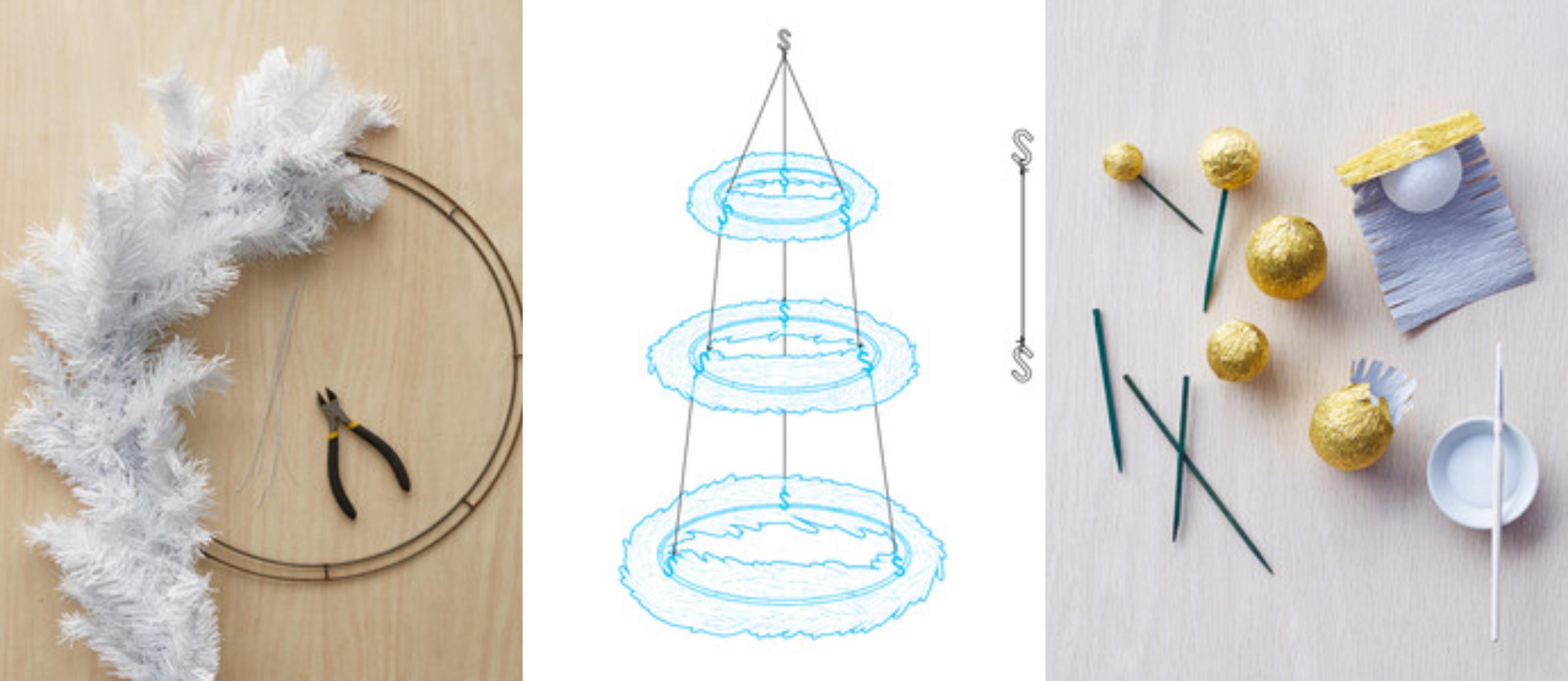 preciosas ideas de árboles de Navidad alternativos DIY para hacer en casa, tutorial con imágines