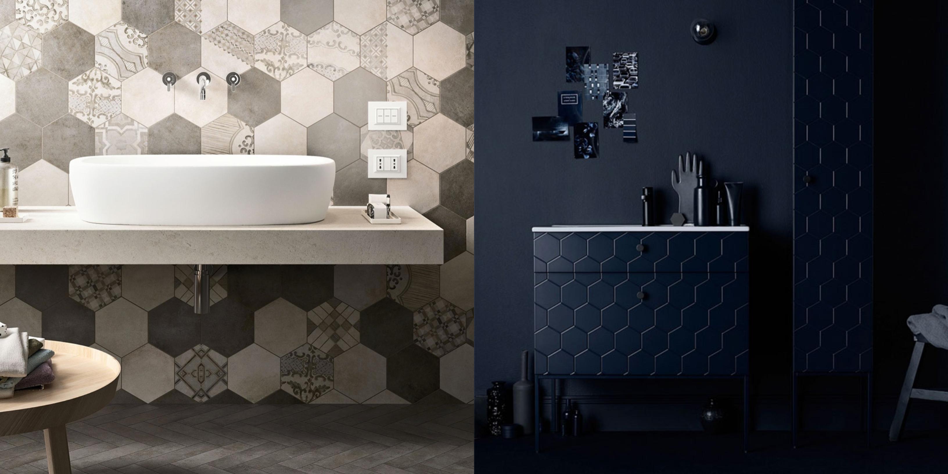 tendencias en la decoracion del baño 2018, cuartos de baño modernos estilo contemporáneo, azulejos hexagonales