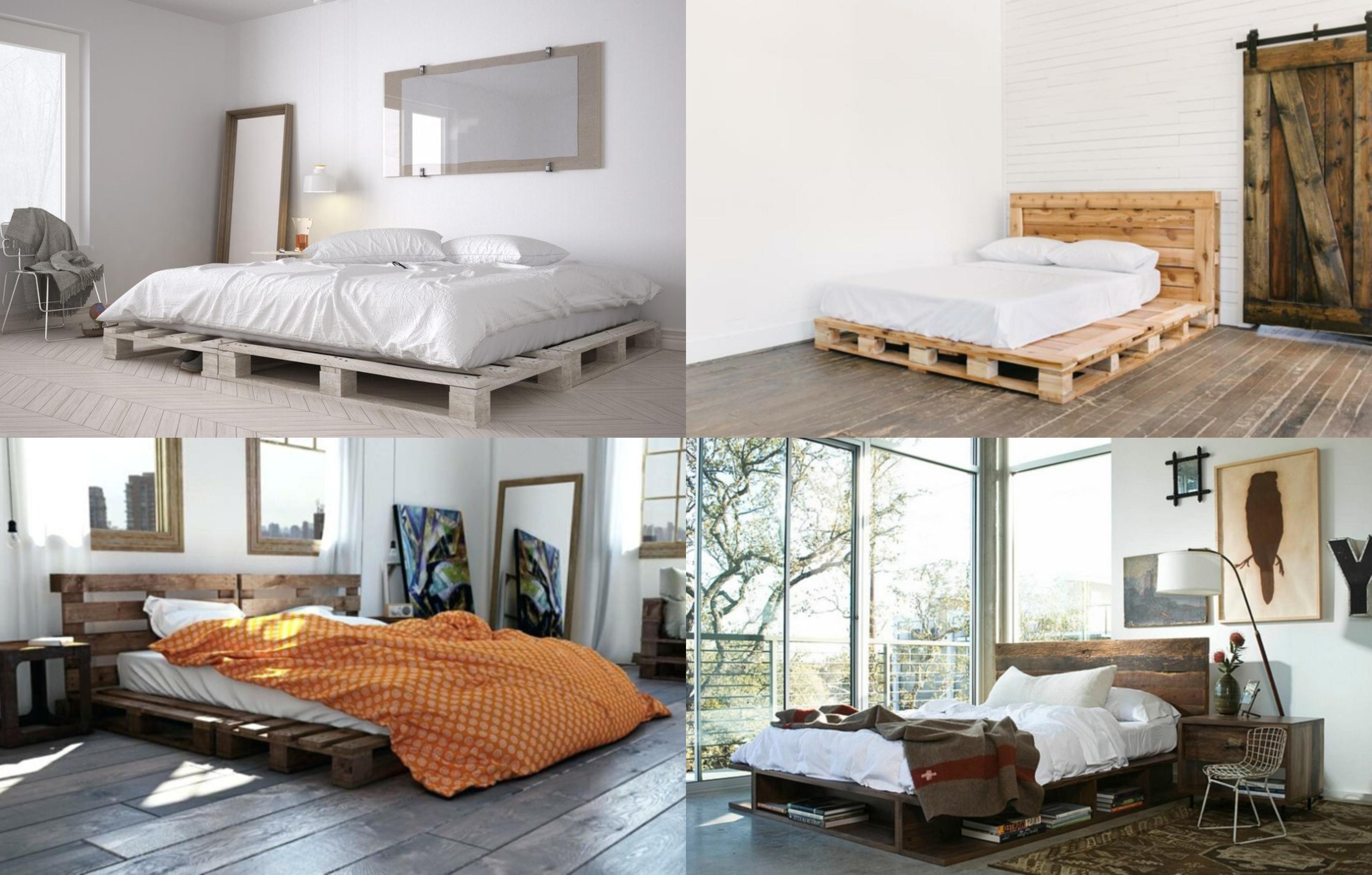 cuatro propuestas de muebles con palets, dormitorios acogedores con camas DIY hechas con palets