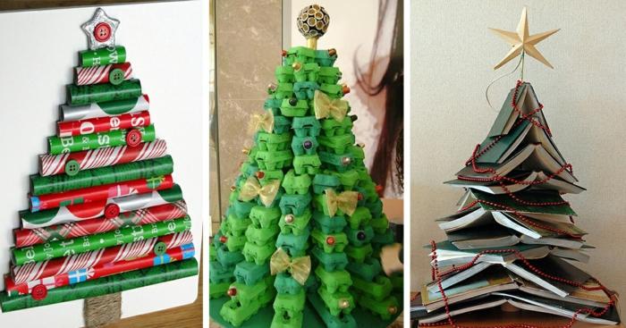 tres variantes de arbol de navidad reciclado, árbol de papel de revistas, árbol navideño de cartones de huevos, árbol hecho con libros