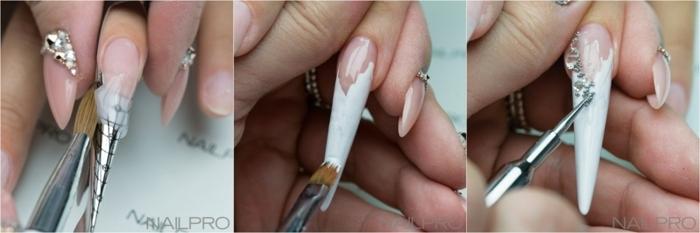 como hacer uñas acrilicas paso a paso, ideas de uñas de diseño, largas uñas falsas decoradas con piedras decorativas