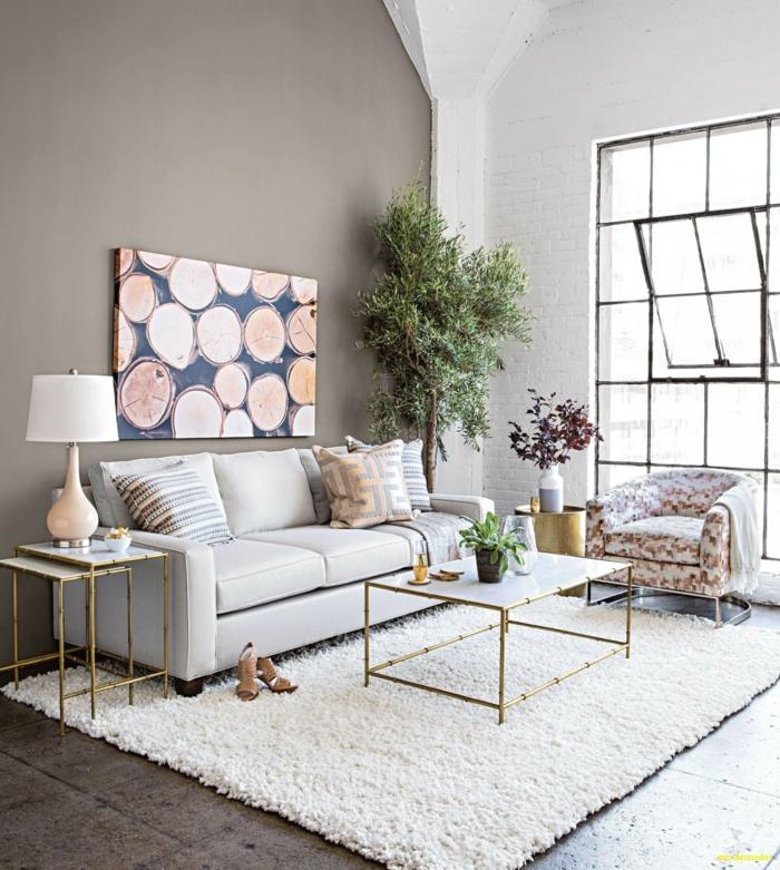 ingeniosas propuestas sobre como pintar una habitacion de dos colores, pared en gris ceniza, pared de ladrillo pintada en blanco