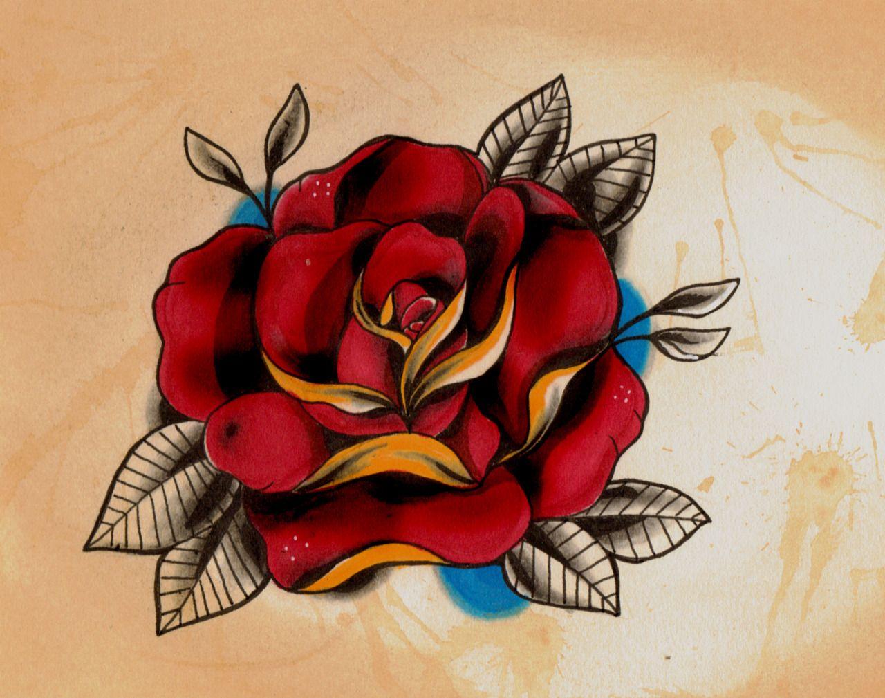 diseños típicos tatuajes tradicionales para hombres y mujeres, rosa roja, diseño clásico en colores intensos