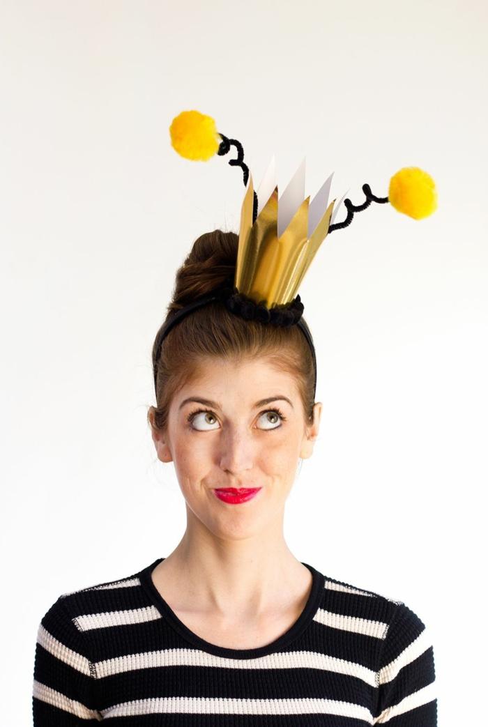 disfraces caseros carnaval ideas originales, la Abeja Reyna, corona DIY hecha en 10 minutos
