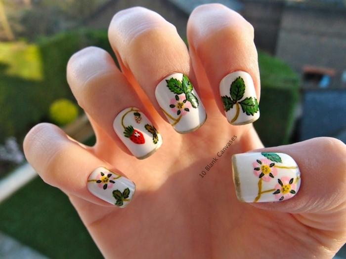 uñas en acrilico diseños para el verano, uñas cuadradas pintadas en blanco con detalles botánicos