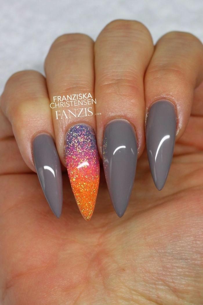 uñas en acrilico super modernas, largas uñas con puntas afiladas estilo stiletto, minicura en gris y colores brillantes