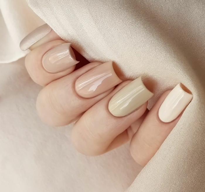 uñas acrilicas en forma rectangular, diseños de uñas elegantes, uñas pintadas en los diferentes tonos del beige